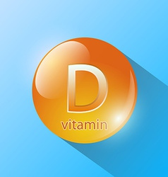 orange capsule with vitamin D on a blue background vector image vector image