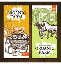 Organic farm vertical banners vector