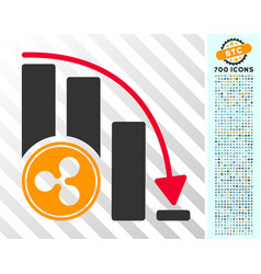 Ripple falling acceleration chart flat icon with vector