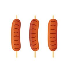 sausage on skewer barbecue kebab vector image vector image