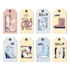 Set icons items for shoe shop vector
