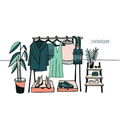 Showroom coat rack with vector