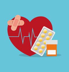 Sick heartbeat healthy medicine bottle pills vector