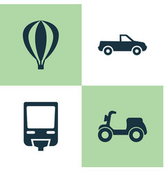 transportation icons set collection of railroad vector image