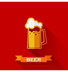 with beer pint icon in flat design style with long vector image vector image