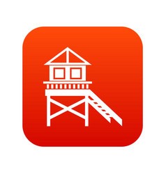 Wooden stilt house icon digital red vector