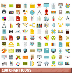100 chart icons set flat style vector image