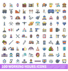 100 working hours icons set cartoon style vector