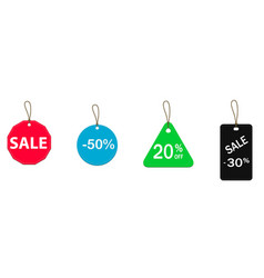 Four colored price tags vector