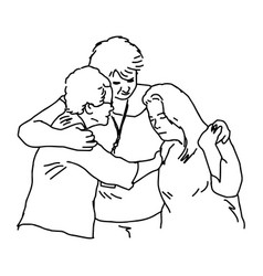 Three people embracing to comfort each otherp vector