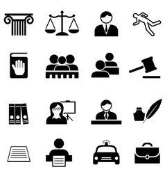 Justice legal law and lawyer icon set vector
