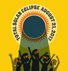 People celebrate watching the solar eclipse vector