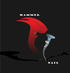 Hammer and nail cartoon - hand drawn vector