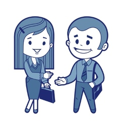 Meeting of businessman and business woman vector