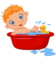 Cartoon baby in a bubble bath splashing water vector