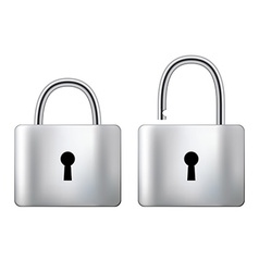 Locked and unlocked padlock steel isolated on vector
