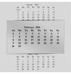 Calendar month for 2016 pages february start vector