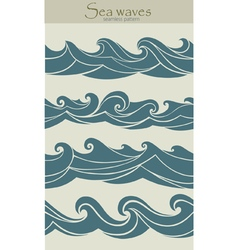 Set of seamless patterns with stylized waves vinta vector image