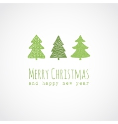Christmas card with decorative christmas trees vector