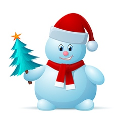 Snowman with santa cap vector