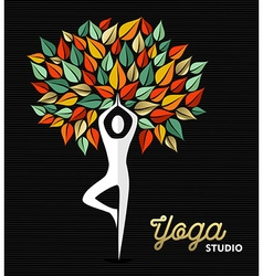 Yoga studio template silhouette and nature design vector