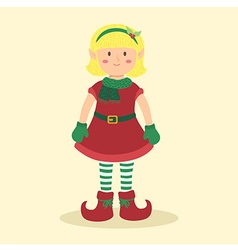 Elf christmas blonde girl vector