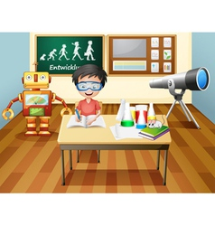 A boy inside a science laboratory vector image