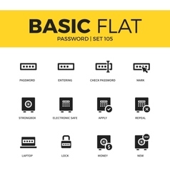 Basic set of Password icons vector image vector image