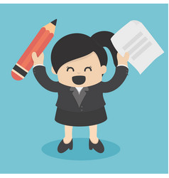 Business woman holding pencil and paper vector