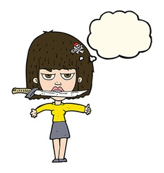 cartoon woman with knife between teeth with vector image