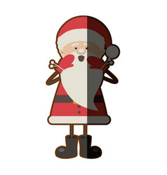 Colorful silhouette caricature of santa claus vector