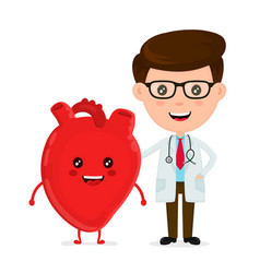 cute funny smiling doctor and healthy happy heart vector image vector image