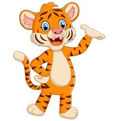 cute tiger posing cartoon vector image vector image