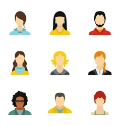Different avatar icons set flat style vector