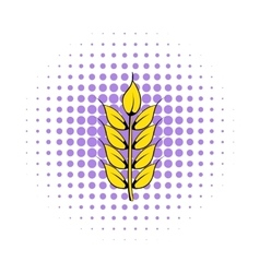 Ear of barley icon comics style vector image