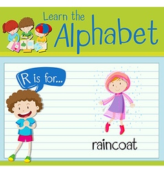 Flashcard alphabet R is for raincoat vector image vector image