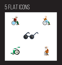 flat icon cripple set of handicapped man vector image