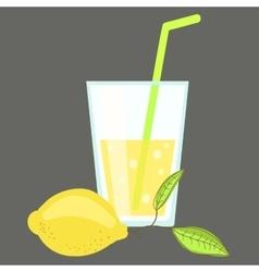 Fresh cold lemonade Glass of citrus juice Lemon vector image