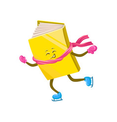 Funny humanized book character skating on ice vector