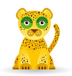 Funny jaguar on white background vector image