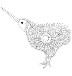 Hand drawn zentangle tribal kiwi bird symbol of vector