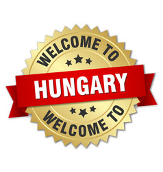 Hungary 3d gold badge with red ribbon vector