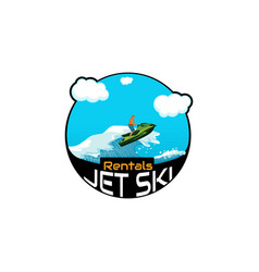 Logo jet ski scooter vector