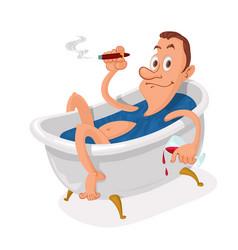 Man in bathtub vector