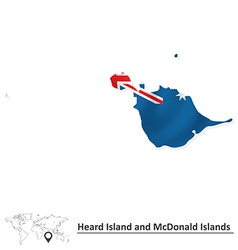 Map of heard island and mcdonald islands with flag vector