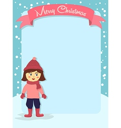 Merry Christmas Girl Banner Greeting Card vector image