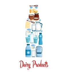 Milk bottle of dairy products vector