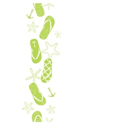 Nautical flip flops green vertical border seamless vector