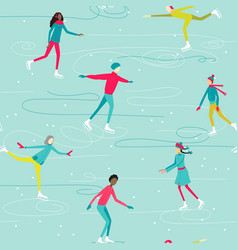 Printwinter seamless pattern with ice-skating vector