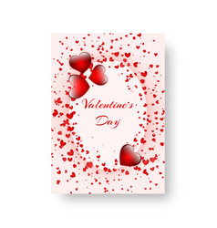 rectangular flyer with scarlet hearts vector image vector image